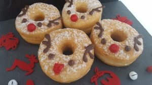 donuts decorated as christmas reindeer